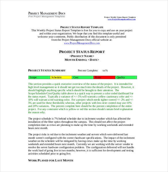 Doc585550 Weekly Report Template Weekly Activity Report – Weekly Summary Report Template