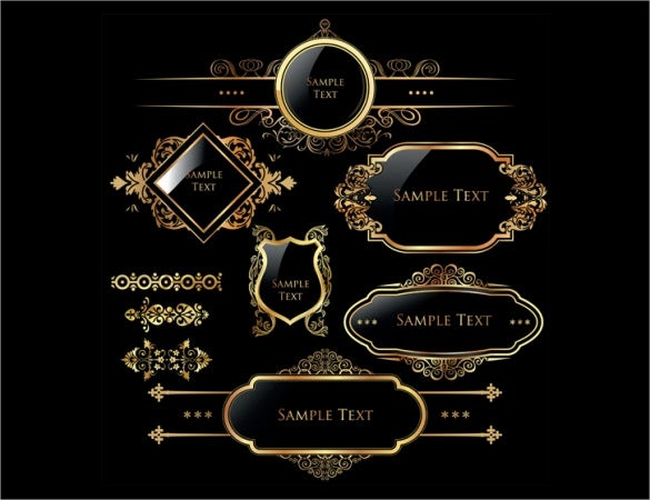 Golden Free Labels On Blackground Template Download  Label Design Templates