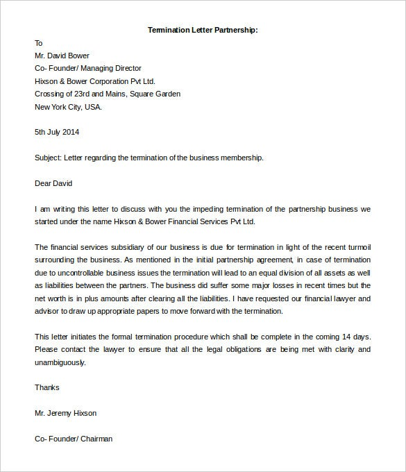 letter regarding the termination of the business partnership