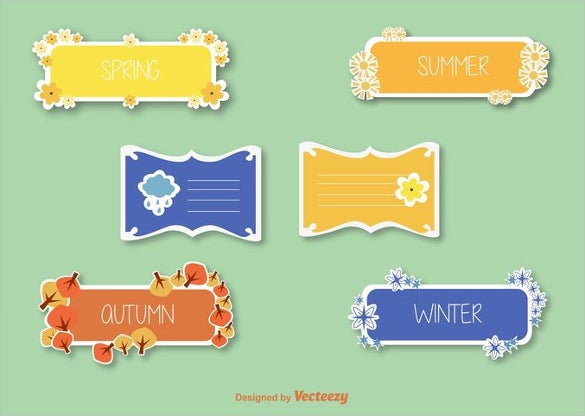 free label template in different colours