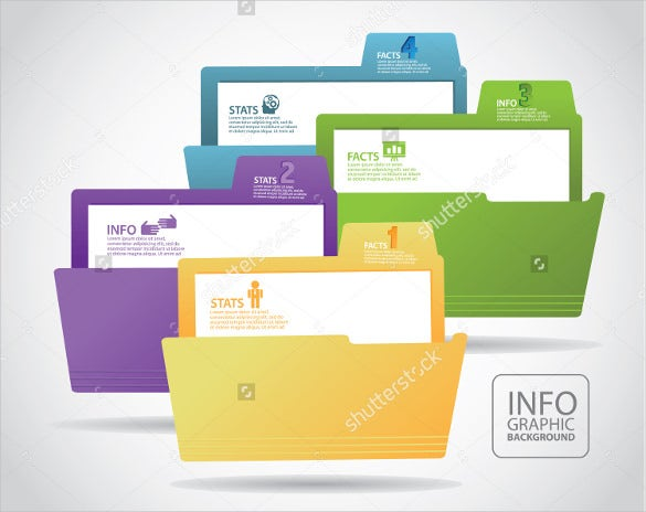 file folder label infographic element