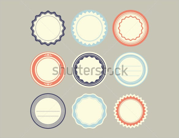 set of vintage round labels template download