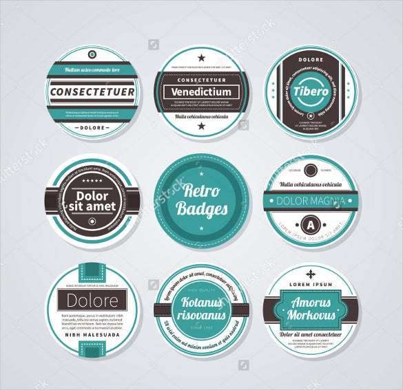 circle or round labels in retro style on white background