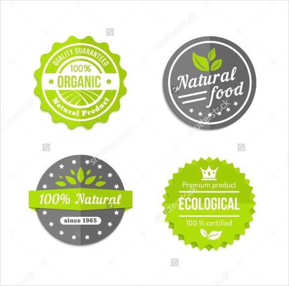 organic natural food round labels in grey white and green
