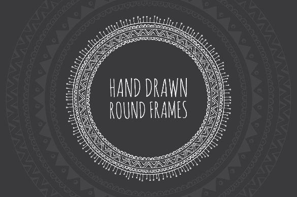 hand drawn decorative round round frames template