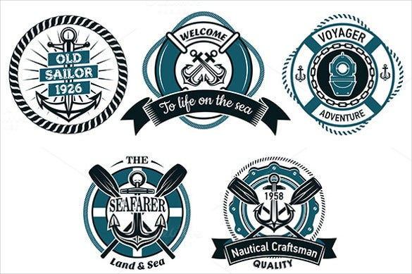 seafarer nautical and marine round label
