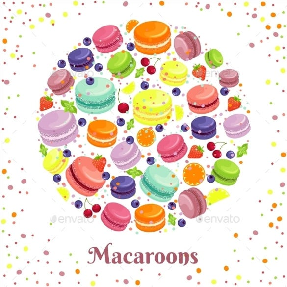 macaroons cookies round label download