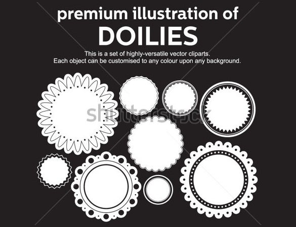 premium illustration of doilies round labels