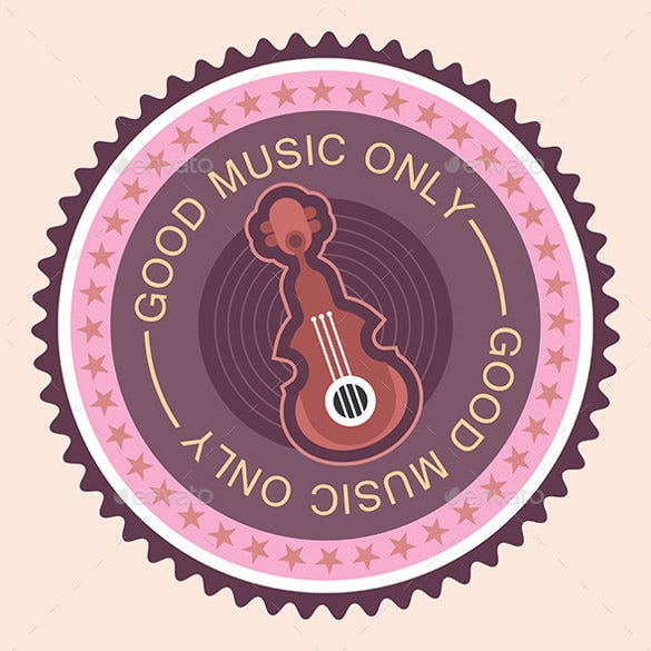 musical round label with guitar template