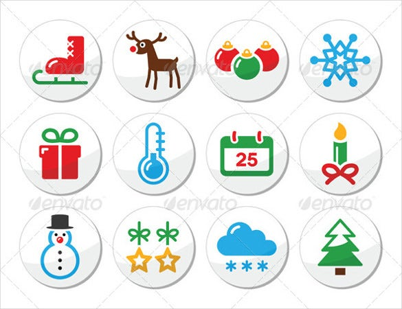 christmas winter colorful icons set as round label ai illustrator download