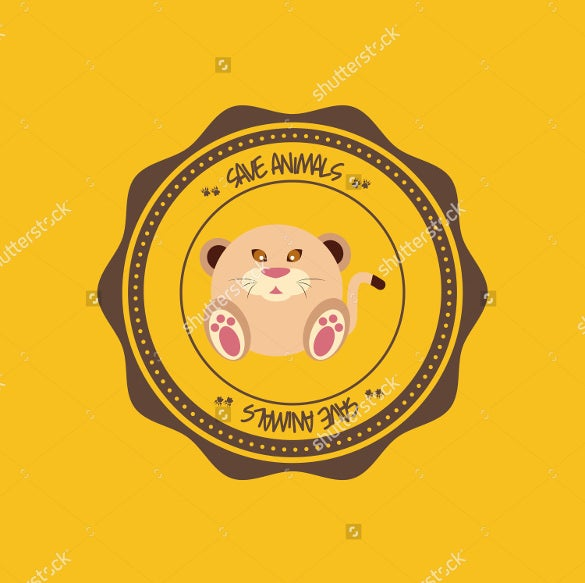 abstract cute animal on a round label template download2