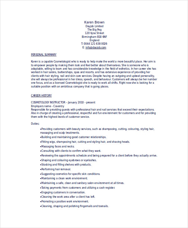 Cosmetology Resume Template - 5+ Free Word, Pdf Documents Download