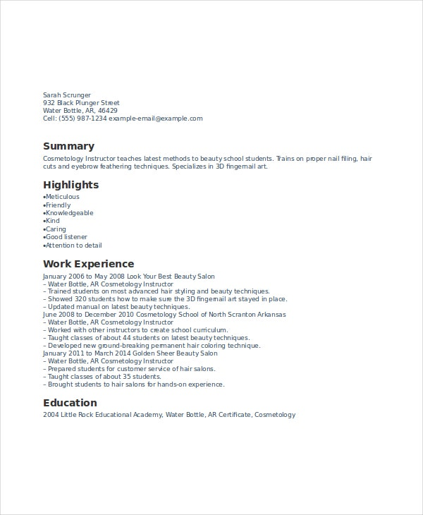 Cosmetologist Resume cosmetology resume templates sample Cosmetology Instructor Resume