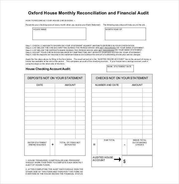 monthly audit report format