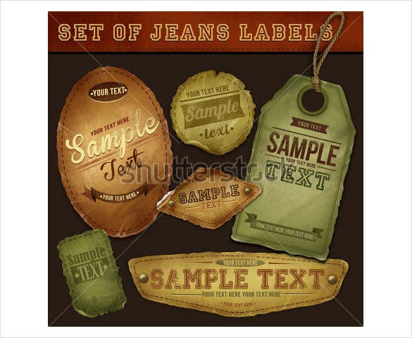 vector detailed fashion label jeans tags