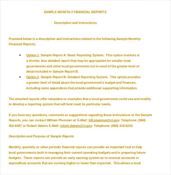 Sample Financial Report Monthly Financial Report Template Example