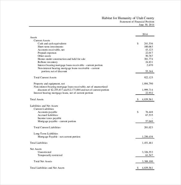 financial report template for nonprofit