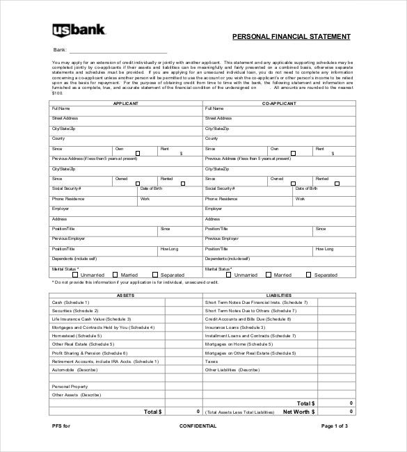 personal financial report template