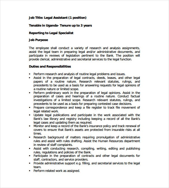 banking legal assistant job description example template free download