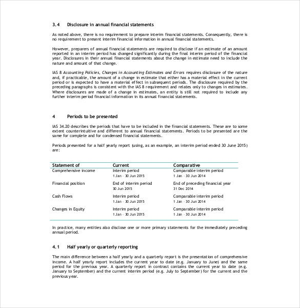 Sample Interim Financial Report Template  Financial Reports Templates