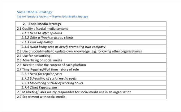 Social Media Strategy Template   Free Pdf Documents Download