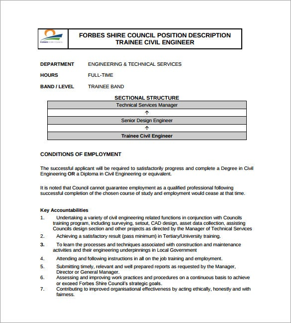 Trainee Civil Engineer Job Description Example Template Free Download