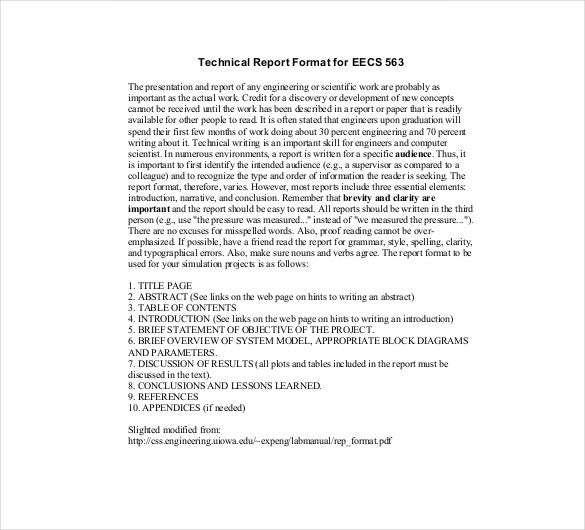 Technical Report Template   Free Word Pdf Documents Download