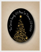Gold Tree Black Address Labels Custom Christmas Address