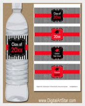 Graduation Water Bottle Label Template