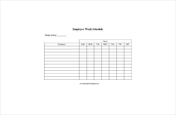 employee blank work schedule word format free download