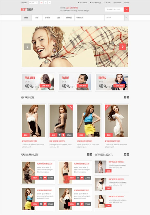retail shopping e commerce psd magento theme