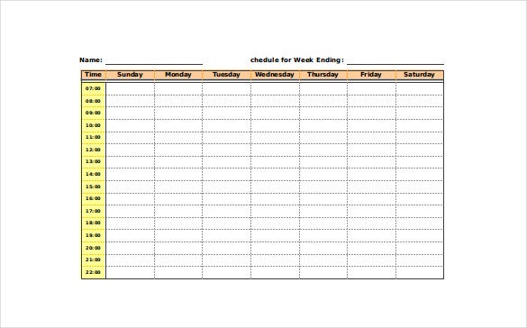 excel blank schedule template free download
