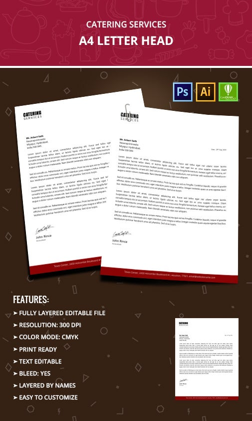 catering services letterhead templates