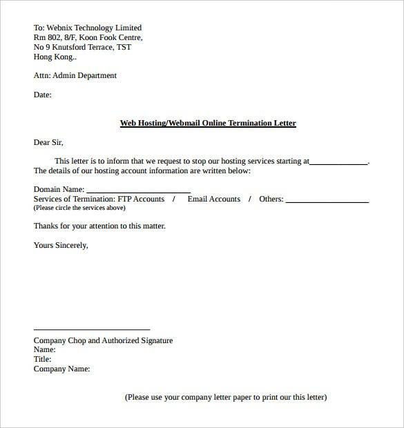 sample web hosting service termination letter template pdf format