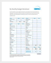 My Monthly Budget Spreadsheet Sample Template Free