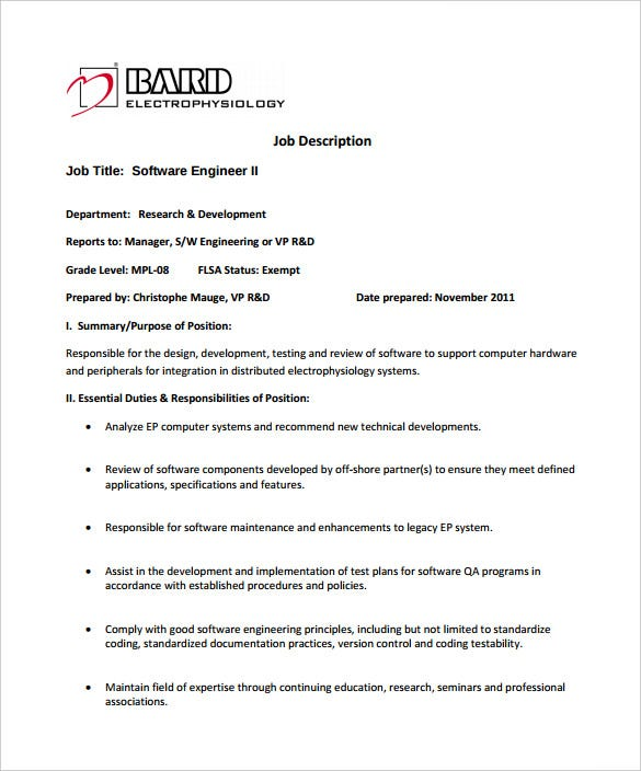 systems software engineer job description example template free download