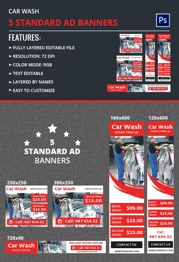 car wash ad banner