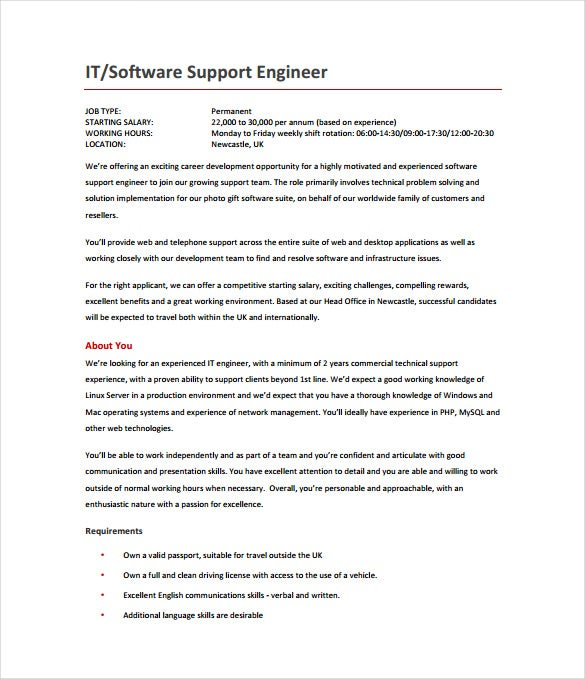 software support engineer job description pdf format free download