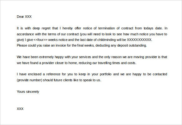 sample notice of termination of contract daycare letter