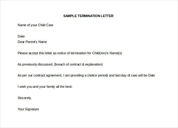 sample child daycare termination letter template download