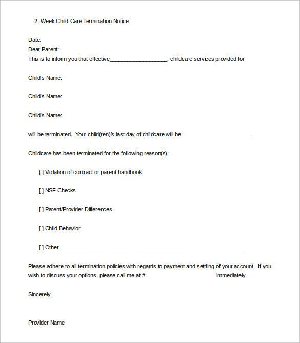 Daycare termination letter templates 10 free sample example 2 week child daycare termination notice sample altavistaventures Image collections