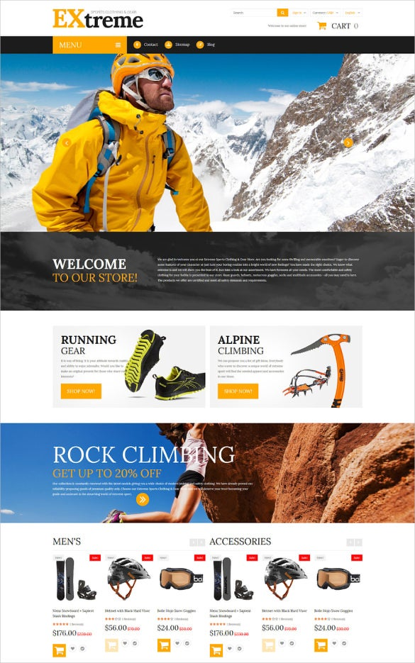retail extreme sports clothing prestashop theme