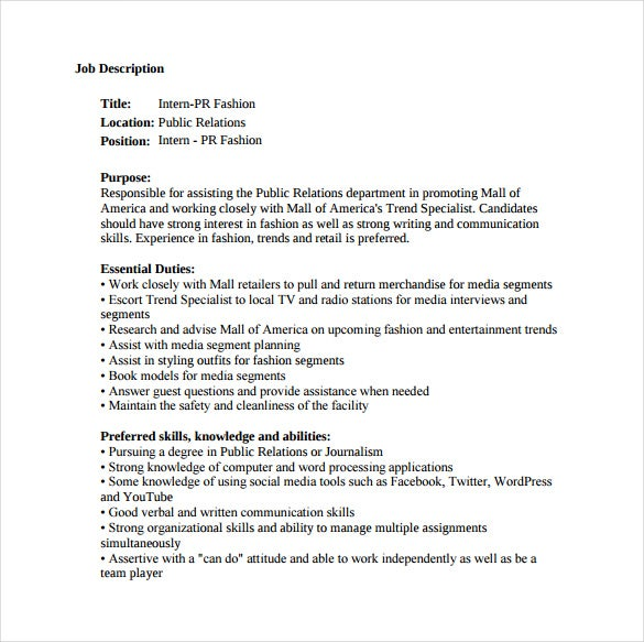 fashion public relation job description sample template free download