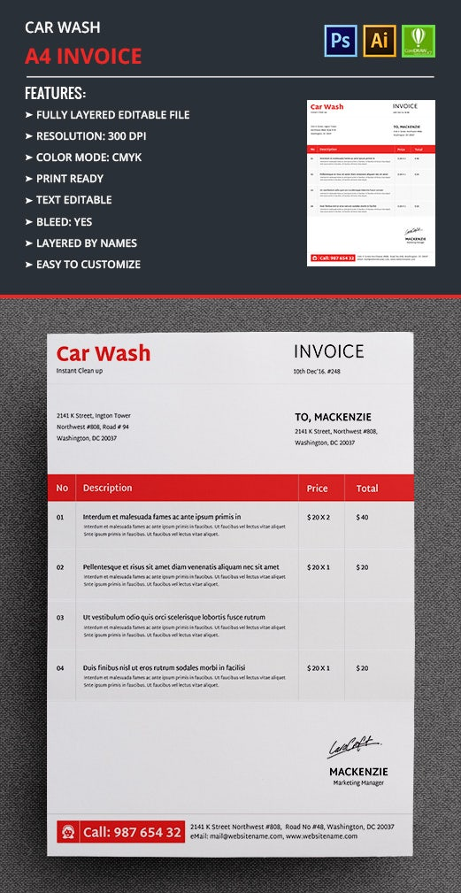 car wash invoice template free premium templates. Black Bedroom Furniture Sets. Home Design Ideas