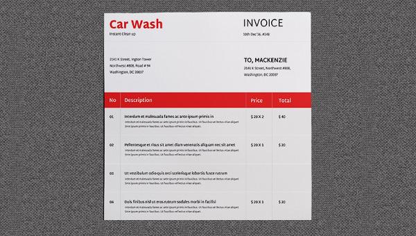 2 Car Wash Invoice Templates Word Excel Free Premium Templates