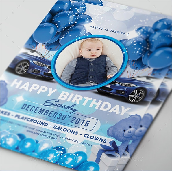 Elegant Blue Kids Birthday Invitation Template