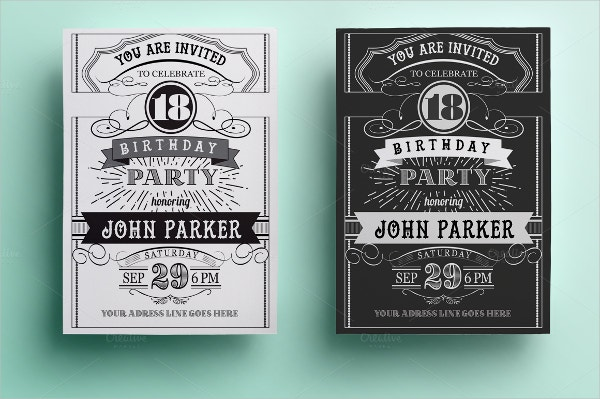 Birthday Invitation Templates Free PSD AI Vector EPS - Retro birthday invitation template