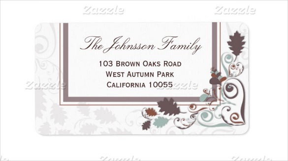 autumn leaves swirls holiday party example address label