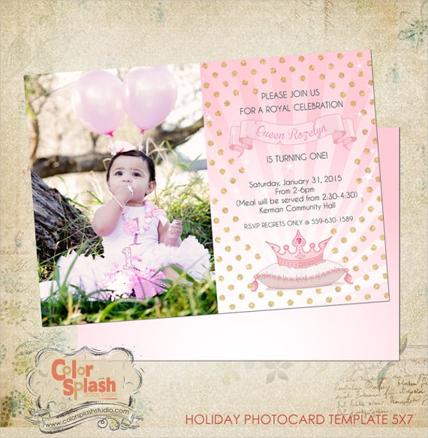 Princess Birthday 1st Birthday Invitation Template