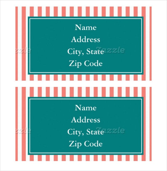 coral pink and white stripes format address label